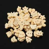 50pcs Various Wooden Sewing Buttons DIY Craft Purse Baby Clothes Decoration Sewing Button