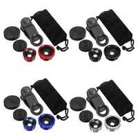 Universal 3in1 Clip On Camera Lens Kit Wide Angle Fisheye Macro For Smartphone