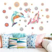 Miico Creative 3D Colorful Dolphin Pattern PVC Removable Home Room Decorative Wall Door Decor Sticker
