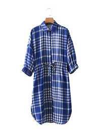 Casual Women Plaid Drawstring Waist Shirt Dress