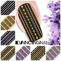 Water Transfer Gold Silver Strip Leopard Print Nail Art Sticker Decal Decoration