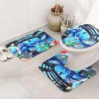 3PCS Bathroom Non-Slip Dolphin Sea Pedestal Rug Lid Toilet Cover Bath Mat Perfect Combination Set Extra Soft Rug