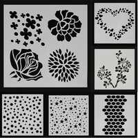 Dot Star Heart Rose Sakura Flower Painting Stencils DIY Scrapbook Photo Album Hand Craft