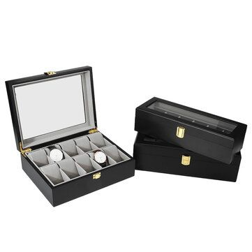 6/10/12 Slots Black with Window Wooden Watch Box Jewellery Display Collection Storage Box