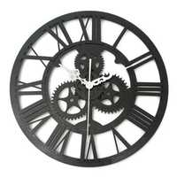 Vintage Wall Clock Rustic Art Big Gear Wooden Handmade Home Bar Cafe Decor Gift 32cm