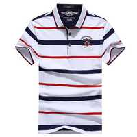 Stripe Lapel Short Sleeve Golf Shirt Casual Tops Tees
