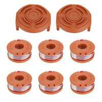 6Pcs Grass Trimmer Spool Line with 2Pcs Spool Cap Cover For Worx WG150s WG152