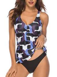 Split Printing Tankinis Swimwear Two Piece