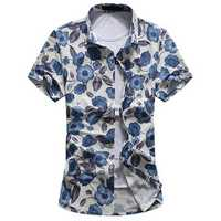 Plus Size Casual Fashion Summer Beach Soft Floral Printing Short Sleeve Dress Shirts for Men