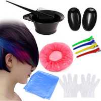 7Pcs DIY Hair Dye Coloring Tools Hair Dyeing Kit Mix Bowl Hairdressing Brush Comb Section Clips Set