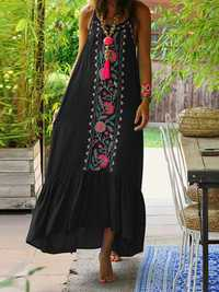 Women Bohemian Printed Straps Ruffles Hem Holiday Maxi Dress