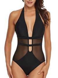 One Pieces Black Mesh Hollow Swimwear