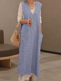 Plus Size Casual V-neck Sleeveless Stripe Maxi Dress