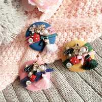 Kid's Handmade Cotton Star Strawberry Tassel Brooches