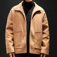 Mens Solid Color Winter Warm Loose Casual Stylish Jacket