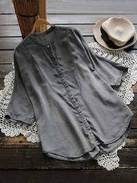 Women Loose Solid Color 3/4 Sleeve Irregular Hem Blouse