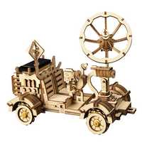 3D Wooden Puzzle Toys Christmas Birthday Gift Assemble Solar Energy Powered Moon Buggy Teach Model