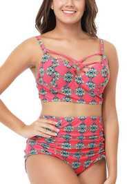 Gathered Push Up Bikini Sets High Waist Retro Ladies Swimwea