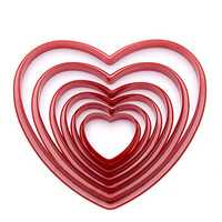 6pcs/set Heart Shaped plastic Cake mold cookie cutter biscuit stamp Sugarcraft cake decorations