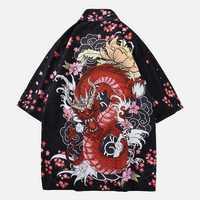 Chinese Dragon Printing Vintage Ethnic Style Robe Cardigans
