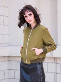 Casual Women Green Pockets Baseball Jackets