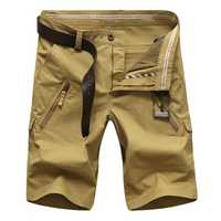 Plus Size 30-50 Zipper Pocket Cargo Shorts Mens Fashion Casual Straight Leg Shorts