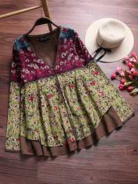 Floral Print V-neck Patchwork Blouse