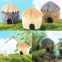DIY Carton Thatched Cottage House Statue Mini Craft Micro Landscape Ornament Gardening Bonsai Decora