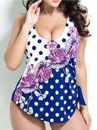 Plus Size No Rims Polka Flower Printed Backless Swimwear