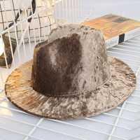 Panama Gold Velvet Female Hat Pink Solid Color Fedoras Cap Ladies Felt Hat Shining Women Jazz Hat