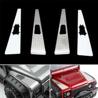 4PCS Stainless Steel Front Hood Side Checker Diamond Plate for Traxxas TRX-4 Rc Car Parts