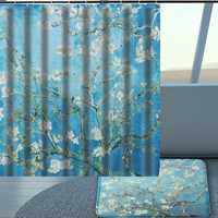 Hand Painted Pear Waterproof Fabric Bathroom Shower Curtain Hooks Home Decor