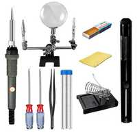 60W 110V/220V 10 in 1 Electric Soldering Iron Kit Soldering Sucker Magnifying Glass