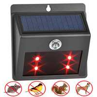 Solar Power Animal Repeller 4 Red LED Predator Deterrent Light for Garden Yard Farm Courtyard