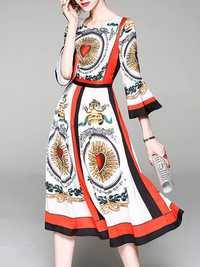 Floral Print High Waist Bell Sleeve Dress