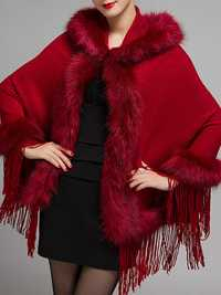 Elegant Women Faux Fur Tassel Hooded Cloak Coat
