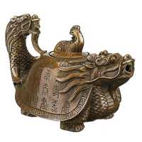 Vintage Chinese Pure Brass Copper Dragon Tea Pot Flagon Handmade Artwork Decor Tea Pot