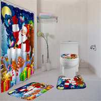 180X180 Santa Claus Christmas Gifts Shower Curtain with Hooks Waterproof Bathroom Carpet Set