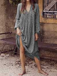 Women Holiday Leopard Print V-neck Long Sleeve Maxi Dress