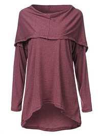 Casual Solid Long Sleeve Hooded Irregular Hem Women Knitted Shirt