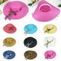 Women Girls Wide Brim Summer Hollow Beach Hat Bowknot Sun Straw Floppy Beauty Cap