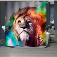 Colorful Male Lion Waterproof Mildew Proof Polyester Shower Curtain Bathroom Decor with 12 Hooks