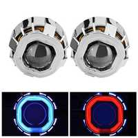 2.5 Inch HID Lights Motorcycle Car Double Optical Lens With Double Angel Eyes HB4 H7 H4