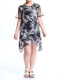 Women A-Line Short Sleeve Ink Pinting Yarn Splicing Irregular Hem Dress