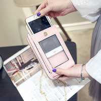 Universal PU Screen Touch Neck Shoulder Bag Wallet With Metal Chain For 5.5 Inches Smartphone