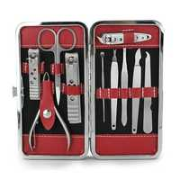 10pcs Stainless Steel Nail Care Manicure Clipper Scissor Tweezer Pedicure Set Kit with Case