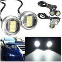 Pair 3W LED Eagle Eye Lamp Car Up Reverse Lamp Daytime Running Light DRL 3 Led