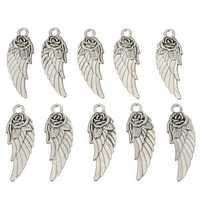 10Pcs Tibetan Silver Rose Angel Wings Pendants Charm DIY