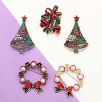 Christmas Party Gift Series Colorful Alloy Small Bell Oil Pins Brooches