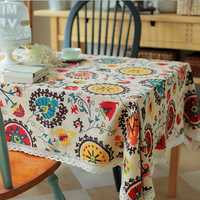 Sun flower Cotton Linen Tableware Mat Table Runner Tablecloth Desk Cover Heat Insulation Bowl Pad
